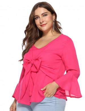 Outstanding Rose Gold Plus Size Double Layer Ruched Blouse Full Sleeves