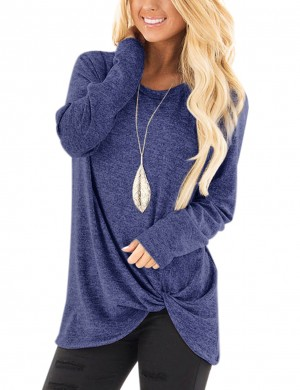 Dark Blue Asymmetrical Hem Sweatshirt Full Sleeves Fashion Online