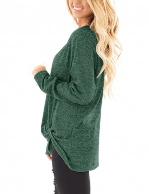 Affordable Green Front Twist Sweatshirts Unsymmetric Hem Loose