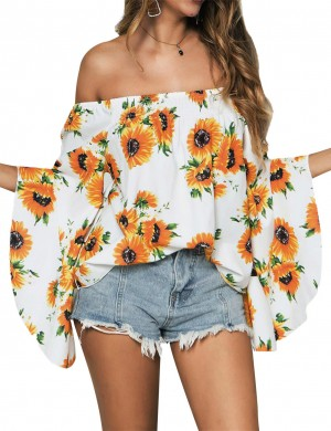 Individualized Open Shoulder Yellow Floral Smocking Blouse Flare Cheap