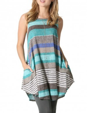 Marvelous  Blue Tank O Neckline Blouses Stripe Print Understated Design