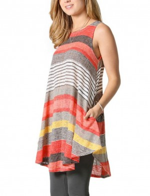Modest Orange Wide Tanks Shirts Stripe Print Women's Fashion Tops