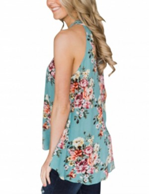 Vivid Blue Floral Halter Tops No Sleeves Ladies Fashion