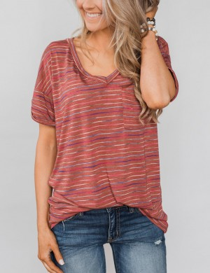 Retro Red Striped Blouse Short Sleeved With Pockets All-Match Style