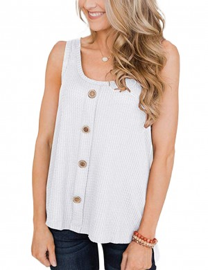 Enticing White Sleeveless Slit Side Top Button Down Feminine Style