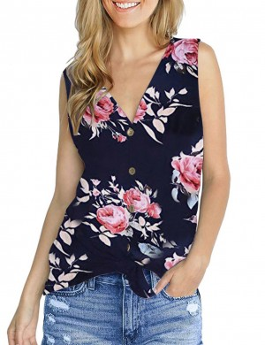 Snazzy Tie Front V Collar Flower Tank Top Button Casual Women Clothes