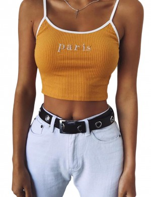 Ingenious Yellow Spaghetti Straps Crop Top Fancywork Comfort Fit