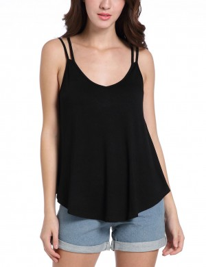 Glam Black Ruffled Low-Cut Tank Tops Cami Straps Latest Fashion