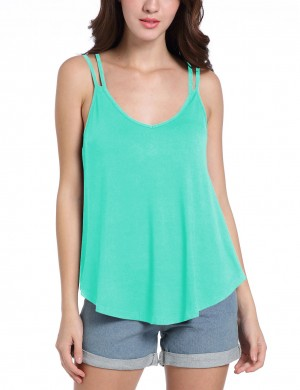 Functional Double Straps Pleated Light Blue Tank Top Breathable