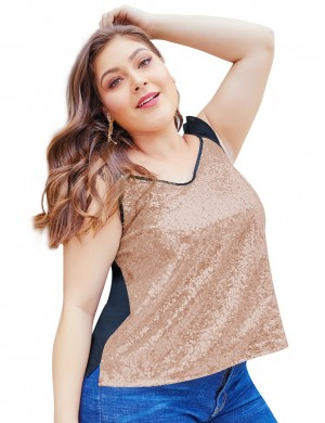 Astonishing Gold Sequin Queen Size Tank Tops Ruffle Stitching New Fashion