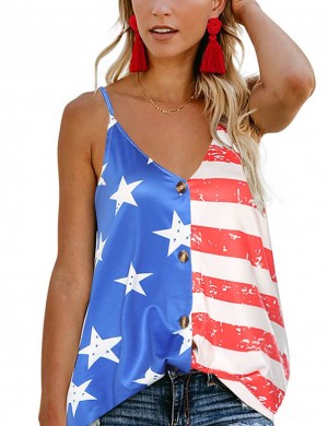 Flirty Button Down Flag Print V Neck Sling Vest Top Cheap Online Sale