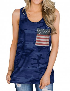 Popularity Blue Flag Pocket Wide Strap Camouflage Tank Top Wholesale