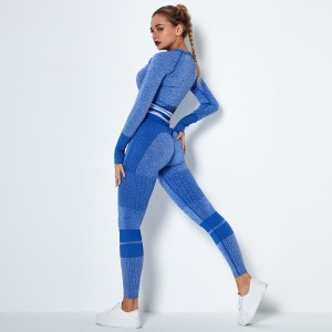 2020 Blue high-waist hip-lifting stretch tights stretch pants seamless knitted peach hip-lifting yoga pants Blue