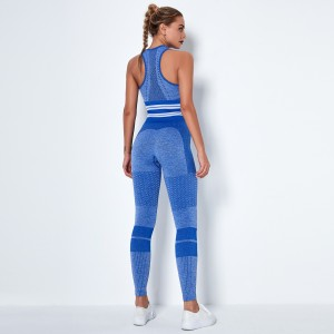 2020 Blue high-waist hip-lifting stretch tights stretch pants seamless knitted peach hip-lifting yoga pants