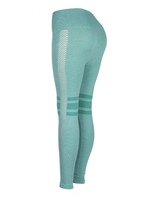 Classic Light Green Stripe High Waist Solid Color Yoga Leggings