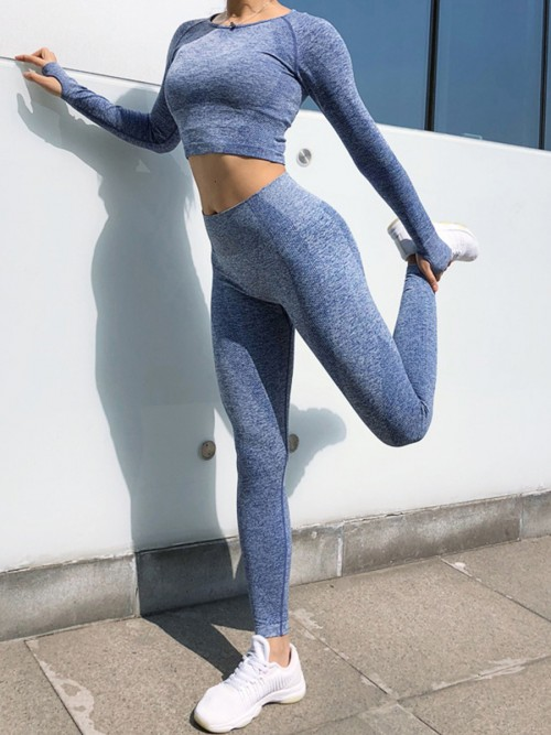 Flattering Blue Ankle Length Mid-Rise Yoga Leggings For Warmup