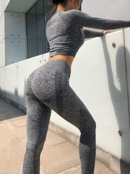 Eye Catching Dark Gray Athletic Leggings Butt Enhancer Seamless