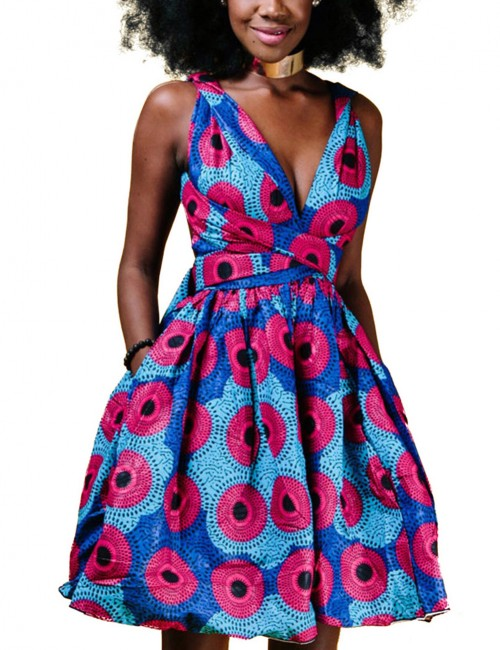 Natural Plunging Neck Mini Dress African Print Women Fashion Style