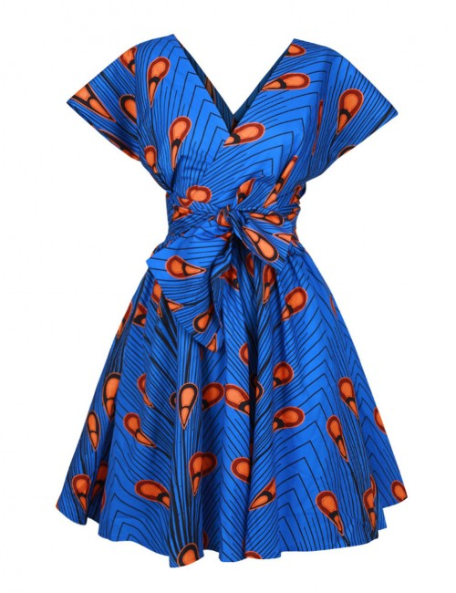 Classic Convertible Printed Mini Dress Knot Latest Trends