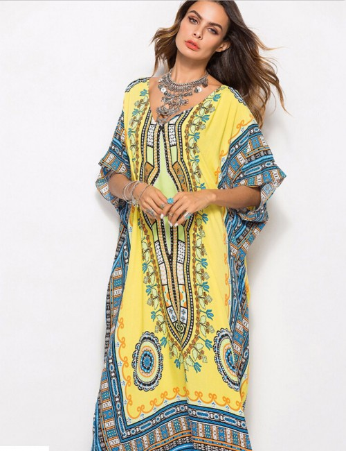 Bewildering  Yellow Tribal Pattern Maxi Dresses Bat-Wing Sleeves Fashion