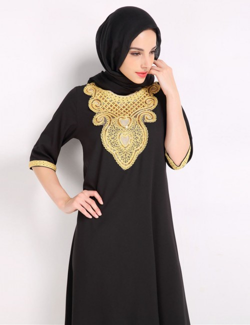 Elegance Black Islamic Embroidery Slit Crew Neck Maxi Dress Fashion