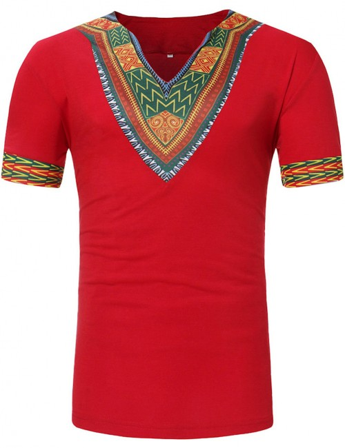 Absorbing Red Short Sleeve African Print Male T-Shirt V Neck