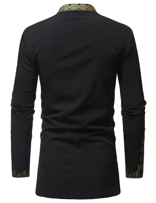 Absorbing Black Stand Collar Tribal Male Big Size Shirt Buttons Seamless