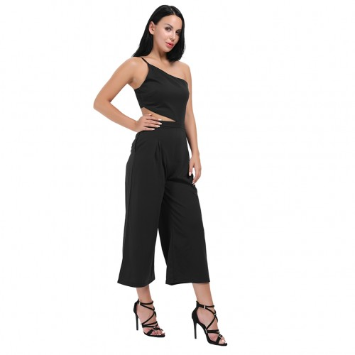Black Wide Legs One Shoulder Cut Out Jumpsuit Open Back