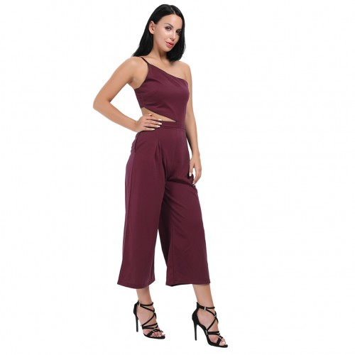 Appropriate Wine Red No Sleeves Adjustable Strap Romper