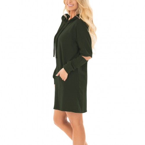 Delicate Army Green Drawstring Hoodie Pullover Mini Dress