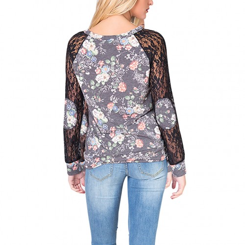 Leisurely Grey Full Sleeves Lace Classy Patchwork Blouse