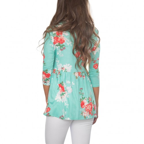 Breathe Freely Ruching Lace-Up Neck Flowers Pattern Blouses