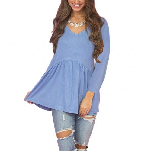 Breathe Freely Breathable Blue Long Sleeve T-Shirt Flowy Pleated Hem