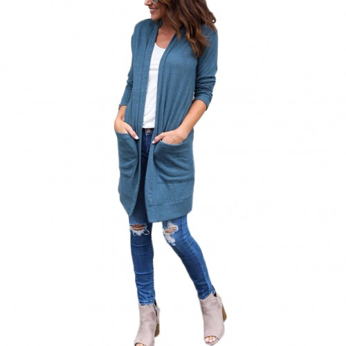 Breathe Freely Unique Loose Fit Blue Open Front Jacket With Pocket
