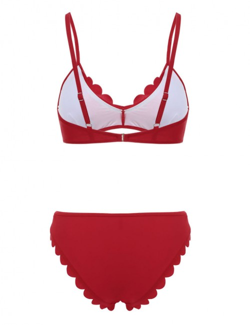 Allover Red Slender Straps Triangle Bikinis With Pads Swimwear Online