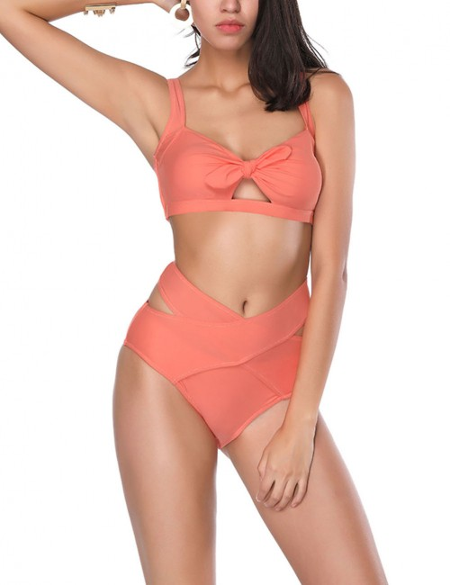 Causal Gorgeous Orange Cut Out Cross Free Wire Bikini For Seaside Days