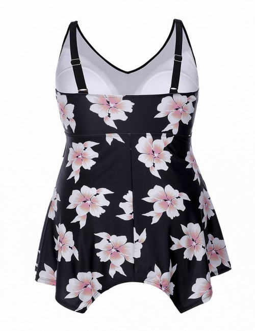 Casual Scintillating Plus Floral Tankini Flowy Hem Super Sexy