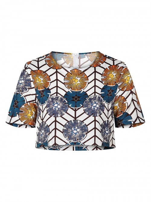 Fitness Exotic Print Top Round Collar Fashion Ideas