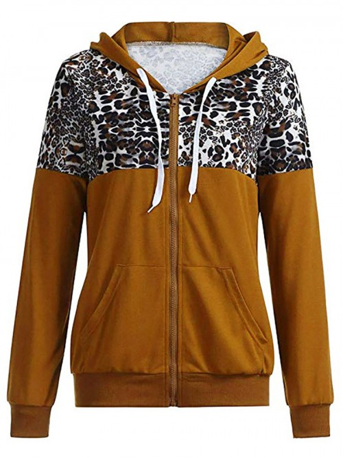Deep Brown Drawstring Hooded Leopard Zipper Jacket Superior Quality