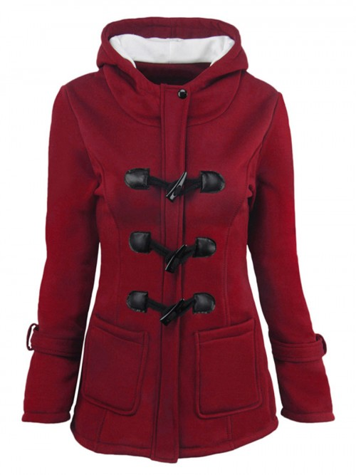 Absorbing Wine Red Solid Color Coat Long Sleeve Elastic Material