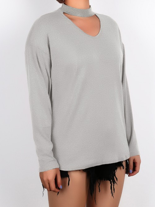 Alluring Light Gray Large Size Shirt Long Sleeve Weekend Time