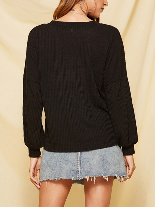 Online Black Knit Sweater Long Sleeve Round Neck Chic Trend