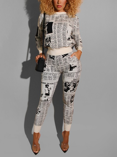 Relaxing White Round Collar Sweat Suit Full Sleeve Ladies Fashion