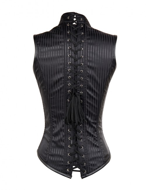 Tempting Criss Cross Back Stand Collar Black Corset Open Front