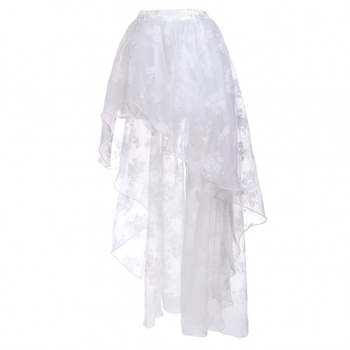Elegant High Low Hem White Floral Skirt Chic Online