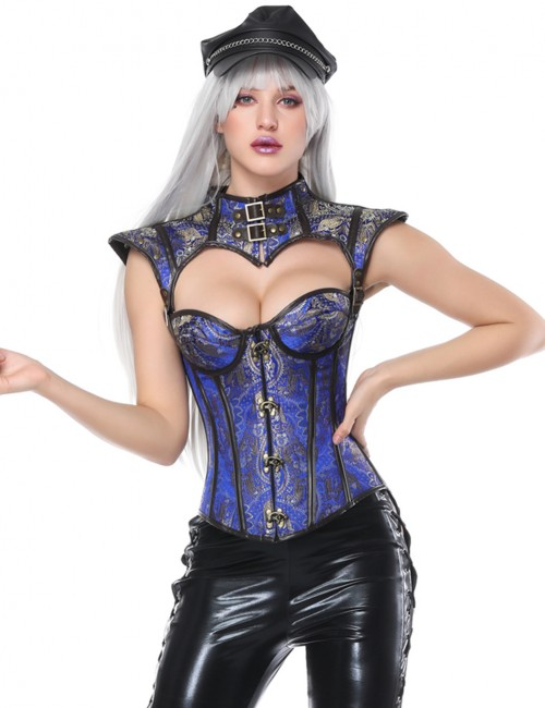 Slimming Blue Plastic Boned Overbust Corset Cap Sleeve Fitted Curve