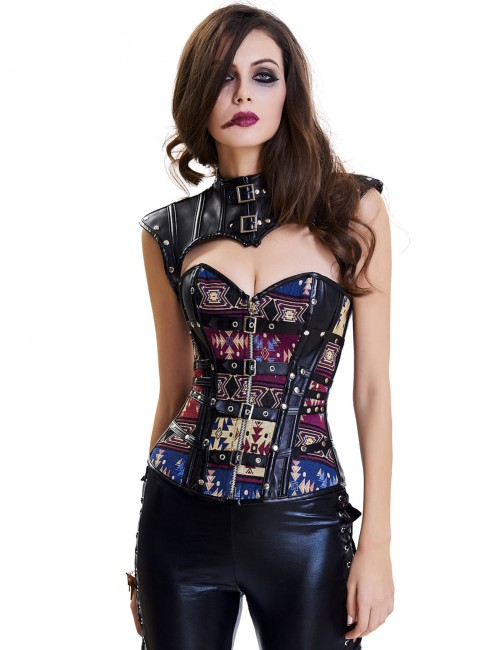 Supper Fashion 14 Plastic Boned Overbust Corset Buckle Formawear
