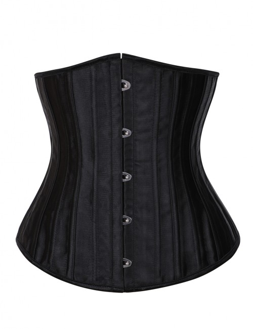 Sophisticated Black 26 Steel Bones Large Size Underbust Corset Faux Silk Bodycon