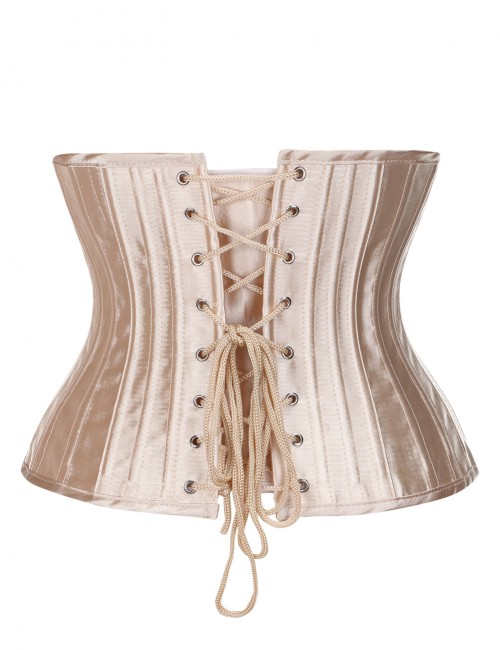 Ultimate Stretch Nude Artificial Silk Big Size Corsets 26 Steel Boned Thong Ultra Hot