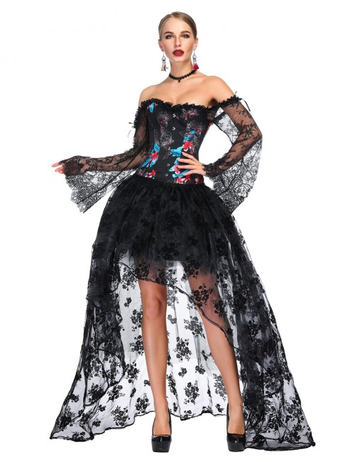 Haute Contour Off Shoulder Floral Corset Skirt Set Flare Sleeves